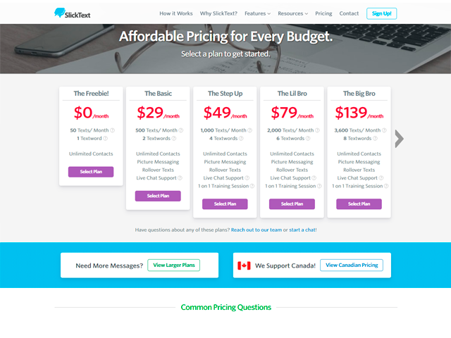 SlickText Pricing Page